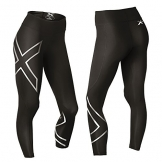 2XU Women's Hyoptik Mid-Rise Thermal Compression Tights, Black/Silver Reflective, X-Small -