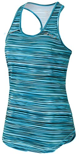 2XU Women's Ice X Singlet, Printed Capri Blue/Carpi Blue, X-Small -