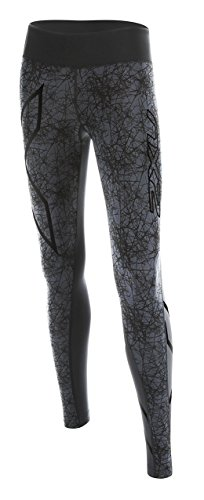 2XU Women's PTN Mid-Rise Compression Tights, Black/Vein Pattern, X-Small -