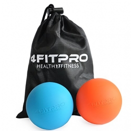 4FITPRO Lacrosse Balls  with Carry Bag, Set of 2 (Orange and Blue) -