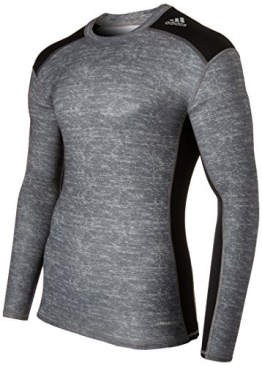 adidas Men's Techfit Base Layer Long Sleeve Tee Core Heather/Black LG -