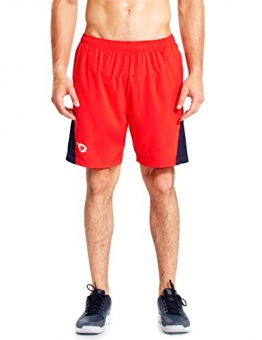 "Baleaf Men's 7"" Quick Dry Workout Running Shorts Mesh Liner Zip Pockets Red Size XL -"