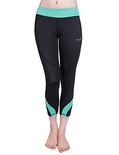 Baleaf Women's Workout Running Capri Leggings Green Size M -