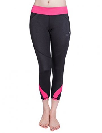 Baleaf Women's Workout Running Capri Leggings Pink Size M -