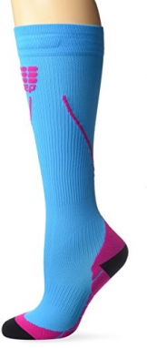 CEP Women's Progressive+ Compression Run Socks 2.0, Size 2 (Calf 9.5-12-Inch), Hawaii Blue/Pink -