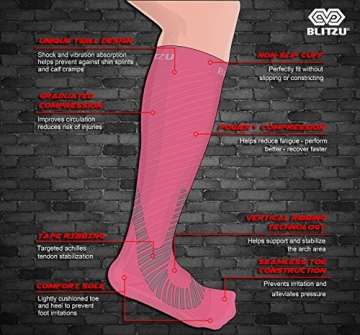 Compression Socks Blitzu Power+ Men and Women Performance Running Socks. True Graduated Compression leg Support. Improves Circulation, Aids Faster Muscle Recovery. Pink S/M -