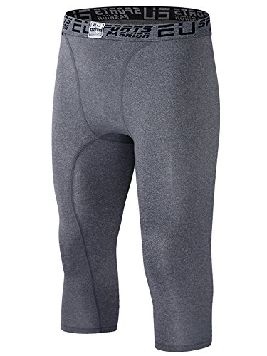 EU Men's Compression Capri Base Layer Tights 3/4 Pants Grey XX-Small -