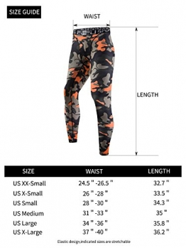 EU Men's Compression Tight Camo Pants Base Layer Running Leggings Small Orange -