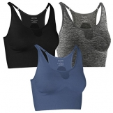 Fittin Padded Sports Bra High Impact Support with Wide Underband for Yoga Workout Fitness Gym Jogging 3-Pack Black Grey Blue L -