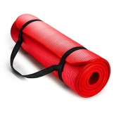 HemingWeigh 1/2-Inch Extra Thick High Density Exercise Yoga Mat with Carrying Strap (Red) -