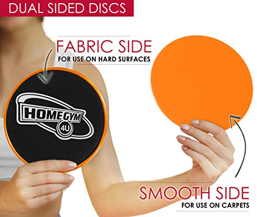 HomeGym 4U Set of 2 Gliding Discs, Dual Sided Sliders for Carpet or Hardwood Floor - Great Addition to Your Home Fitness Equipment - Core Workout Abdominal Exercise, Crossfit Routine, Cardio Training -