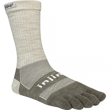 Injinji 2.0 Outdoor Original Weight Crew Nuwwol Socks, Oatmeal, Small -