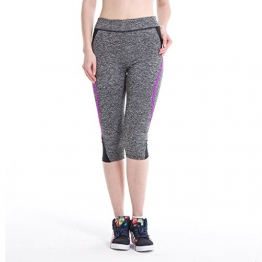 LERDU Women's Tights Active Yoga Running Pants Workout Leggings (Small, Fushia/Grey) -