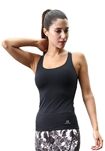 Matymats Woman's Sport Racer Tank Top Built in Shelf Bra Fast Dry -