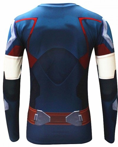 MCU Super Hero Print Long Sleeve Compression Fit Polyester Shirt (Small, Captain America) -