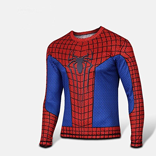 MCU Super Hero Print Long Sleeve Compression Fit Polyester Shirt (Small, Spider-Man) -