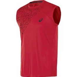 Mens ASICS Sleeveless Top, True Red, L -