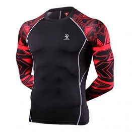 Men's Skin Base layer,Prints Long Sleeves Workout Tights Fits Pro Compression Shirt -