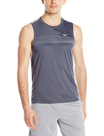 Mizuno Running Men's Venture Sleeveless Tee, Medium, Grey -
