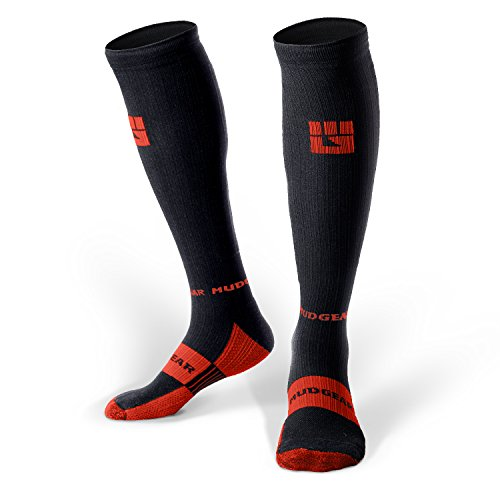 MudGear Compression Socks - Men's and Women's Running Socks Built Strong for Outdoor Sports Performance & Recovery - 1 Pair (Black/Orange, Large) -