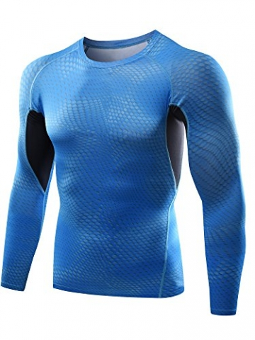 Neleus Men's 2 Pack Athletic Skin Baselayer Long Sleeve Compression T Shirts,5026,Black,Light Blue,S -