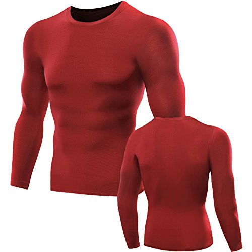 Neleus Men's 3 Pack Compression Wear Long Sleeve T Shirts,5021,Red,Grey,Blue,M -
