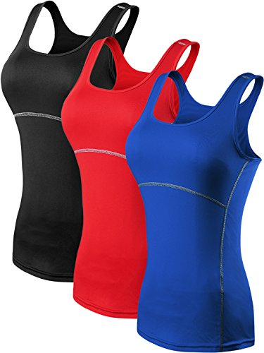 Neleus Women's 3 Pack Dry Fit Compression Athletic Tank Top,3 Pack:Black,Blue,Red,X-Large -