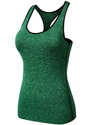 Neleus Women's 3 Pack Dry Fit Compression Long Tank Top,8007,Pink,Red,Green,L -