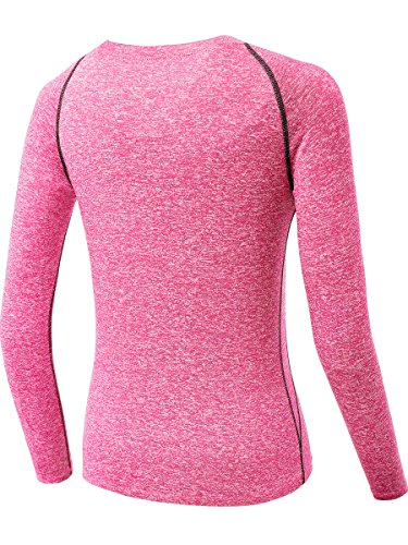 Neleus Women's 3 Pack Dry Fit Long Sleeve T Shirt Compression Base Layer ,8021,Purple,Pink,Red,S -