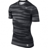 Nike Men's Dri Fit Pro Combat Frontline Striped Compression T Shirt Black Grey Large -