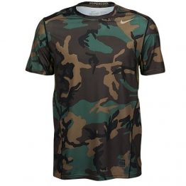 Nike Mens Pro Combat Hypercool Woodland Fitted Short Sleeve Shirt, L, 657442 274 -