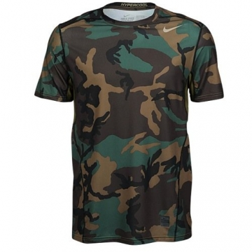abcbe07134534 Nike Mens Pro Combat Hypercool Woodland Fitted Short Sleeve Shirt, L,  657442 274 -