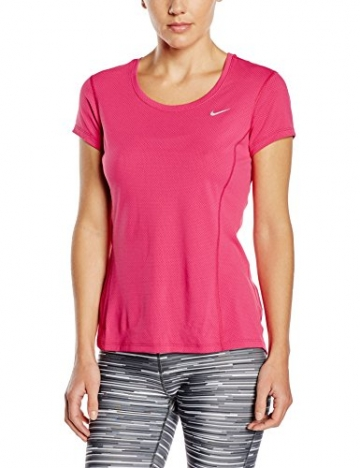 Nike Womens Dri-FIT? Contour Short Sleeve Vivid Pink/Reflective Silver T-Shirt SM -