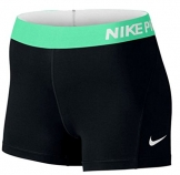 "Nike Womens Pro 3"" Shorts - Black/Green - Medium -"