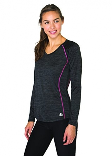 RBX Active Women's Long Sleeve Space Dye V-Neck Black L -