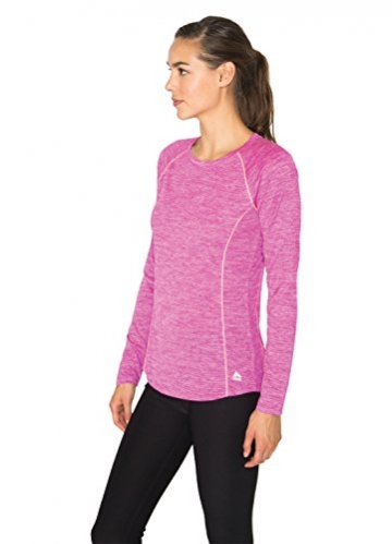 RBX Active Women's Striated L/S Lightweight Crew Neck Base Layer Running Tee Shirt -