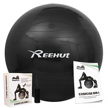 Reehut Anti-Burst Core Exercise Ball w/ Pump & Manual for Yoga, Workout, Fitness (Black, 75cm) -