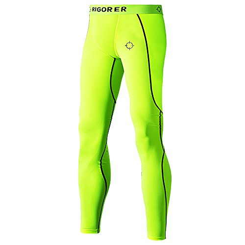 Rigorer Men's Basketball Training Fitness Running Compression Tights Long Pants Neon Green L -