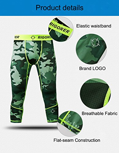 Rigorer Men's Compression Baselayer 3/4 Leggings Cool Dry Running Tights Army Green(Camo) XL -