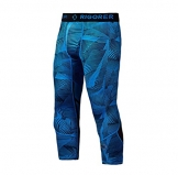 Rigorer Men's Compression Baselayer 3/4 Leggings Cool Dry Running Tights Blue(Geometry) L -