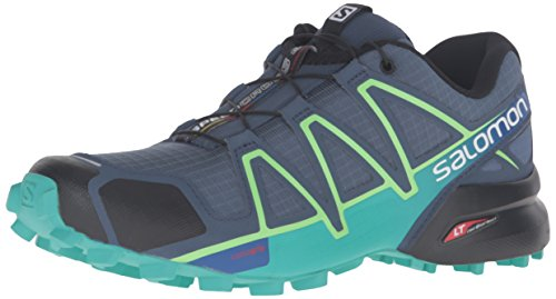 Salomon Women's Speedcross 4 W Trail Runner, Slate Blue/Spa Blue/Fresh Green, 8 B(M) US US -