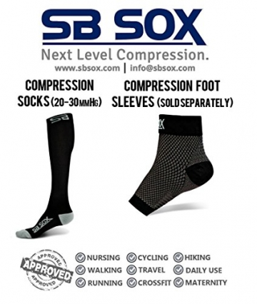 SB SOX Graduated Compression Socks for Men & Women - PREMIUM Design Ideal for Everyday Use, Running, Pregnancy, Flight & Travel, Nursing. (Black/Gray, Small) -
