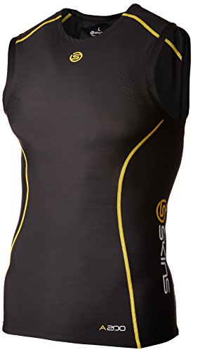 Skins A200 Men's Sleeveless Compression Top, Extra Large, Black/Yellow -