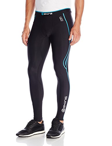 SKINS Men's A200 Thermal Compression Long Tights, Black/Neon Blue, Large -