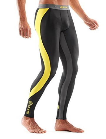 SKINS Men's DNAmic Compression Long Tights, Black/Citron, Medium -