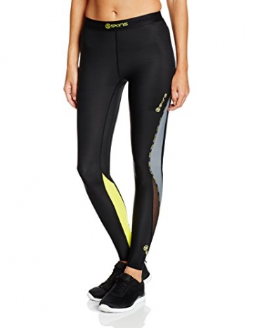 SKINS Women's DNAmic Compression Long Tights, Black/Limoncello, Medium -