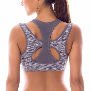 SYROKAN Women's High Impact Support Wirefree Workout Racerback Sports Bra Top Multicoloured #5 XXL -