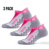 Thirty48 - Ru Running Socks Series, 3 Pack, with CoolMax Fabric Keeps Feet Cool and Dry 3 Pack Pink/Gray Small -