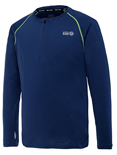 """Time To Run Men's Lightweight Long Sleeve Thermo Zip Neck Running Top Large 42""""- 45"""" Steel Blue -"""