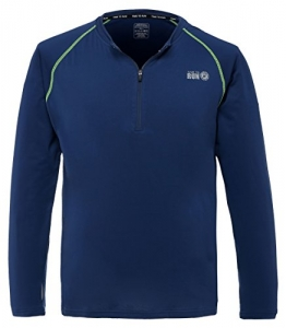 "Time To Run Men's Lightweight Long Sleeve Thermo Zip Neck Running Top Large 42""- 45"" Steel Blue -"